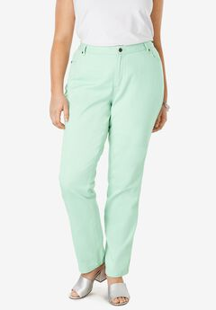 Classic Cotton Denim Straight Jeans, CRYSTAL JADE
