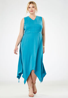 Handkerchief Hem Maxi Dress, SEA BLUE