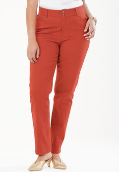 Tummy Control Straight Jean, BURNT RED