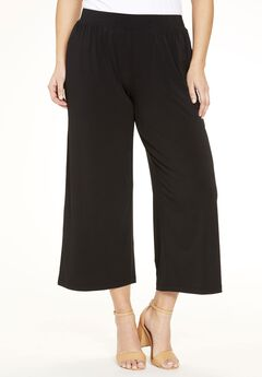 Stretch Knit Cropped Pants, BLACK