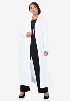 Lightweight Sweater Duster, WHITE