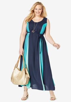 Colorblock Maxi Dress, NAVY COLORBLOCK