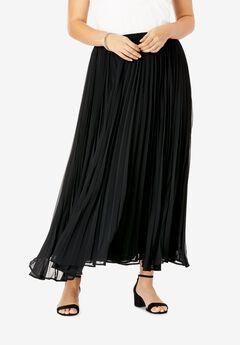 Pleated Maxi Skirt, BLACK