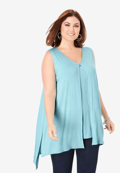 Sleeveless Knit Flyaway Tunic,