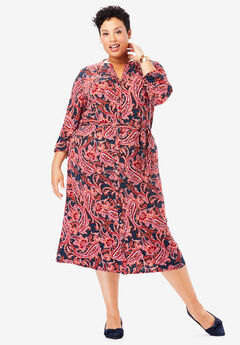 Belted Shirt Dress, NAVY CLASSIC PAISLEY