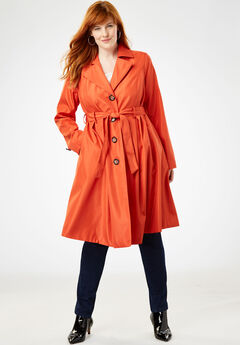 Pleated Trench Coat, BURNT RED