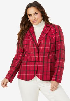 Wool-Blend Peplum Blazer, CLASSIC RED PLAID