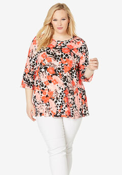 Trapeze Tunic, FLAME RED TROPICAL LEOPARD