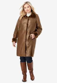 Fur-Trim Leather Swing Coat, NUTMEG