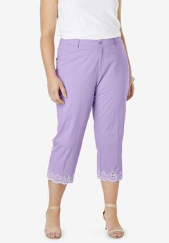 Capri Pants in Poplin , BRIGHT LILAC EMBROIDERED