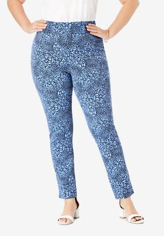 Tummy Control Twill Ankle Pant, NAVY ANIMAL