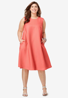 Back Pleat Dress, SUNSET CORAL