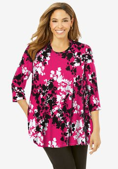 Swing Tunic, PINK BURST GRAPHIC FLORAL