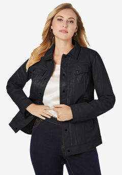 Denim Style Leather Jacket, BLACK
