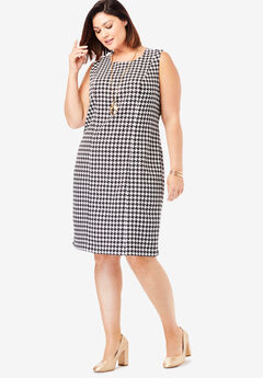 Bi-Stretch Sheath Dress, IVORY HOUNDSTOOTH