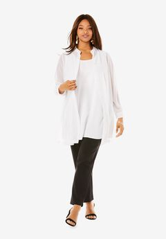 Georgette Button Front Tunic, WHITE