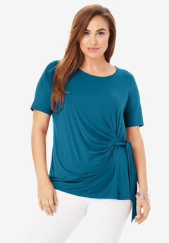 Side-Tie Tee, PEACOCK TEAL
