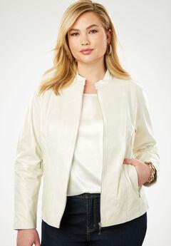 Zip Front Leather Jacket, IVORY