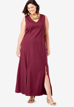 Denim A-Line Maxi Dress, MERLOT