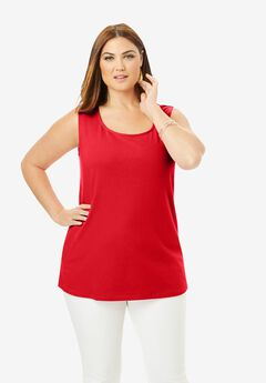 Horseshoe Neck Tank, VIVID RED