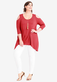 Handkerchief Hem Tunic, PEPPER RED