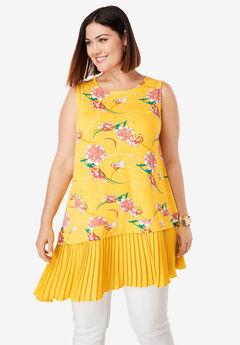 Asymmetrical Tunic, SUNSHINE YELLOW IRIS FLOWER