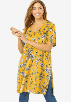 Mega Knit Tunic, SUNSET YELLOW SKETCH FLORAL