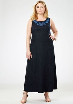 Denim Maxi Dress, PAISLEY EMBROIDERY