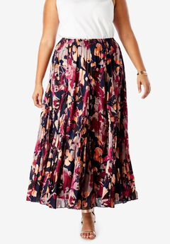 Cotton Crinkled Maxi Skirt, NAVY WATERCOLOR