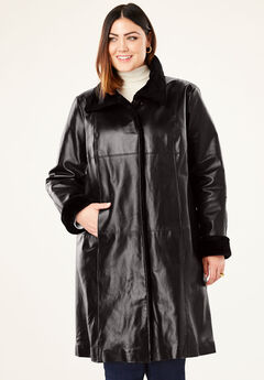 Fur-Trim Leather Swing Coat, BLACK