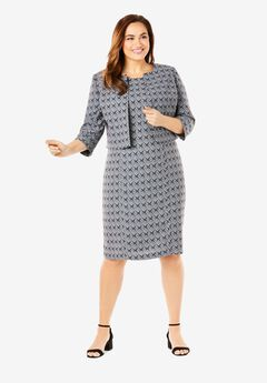 Printed Jacket Dress, BLACK DIAMOND MEDALLION