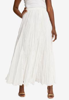 Cotton Crinkled Maxi Skirt, WHITE
