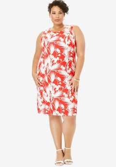 Bi-Stretch Sheath Dress, GERANIUM TROPICAL LEAVES