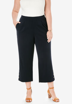 Knit Crepe Wide Crop Pants, BLACK