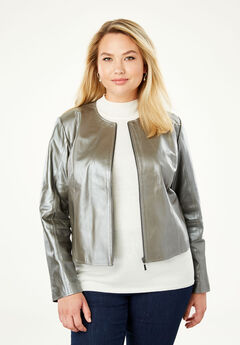 Collarless Leather Jacket,