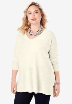 V-Neck Pullover Sweater, IVORY
