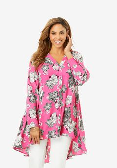 Hi-Low Georgette Tunic, TROPICAL OUTLINE FLORAL