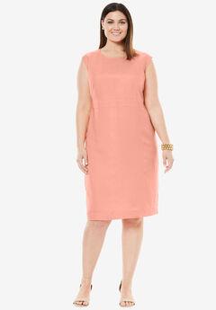 Linen Sheath Dress, SOFT PEACH