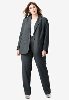 Single Breasted Pant Suit, BLACK