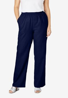 Lightweight Linen-Blend Wide-Leg Pants, NAVY