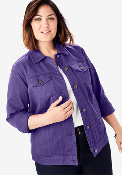 Classic Cotton Denim Jacket, MIDNIGHT VIOLET