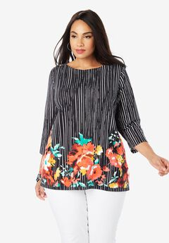 Boatneck Tunic, BLACK FLORAL