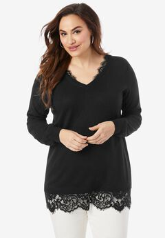 Lace Trim Sweater,
