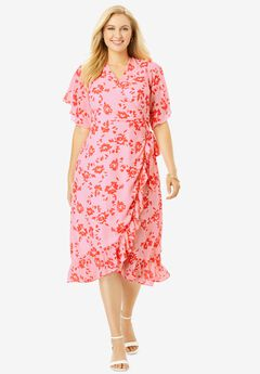 Floral Faux Wrap Dress, PINK LINE FLORAL