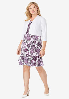 Ponte Jacket Dress, PLUM PURPLE SPRING PAISLEY