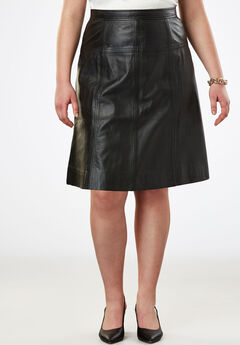 A-Line Leather Skirt, BLACK