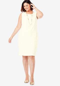 Tummy Control Bi-Stretch Sheath Dress, IVORY
