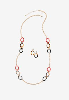 Multicolor Loop Earring & Necklace Set,