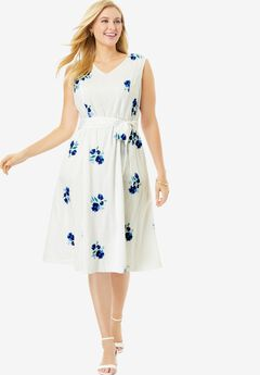 Sleeveless Eyelet Dress, BLUE WILDFLOWER EMBROIDERY