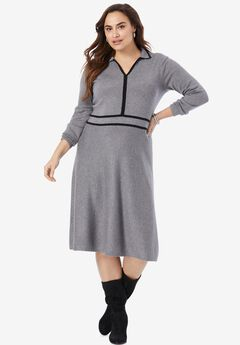 A-Line Sweater Dress, MEDIUM HEATHER GREY BLACK